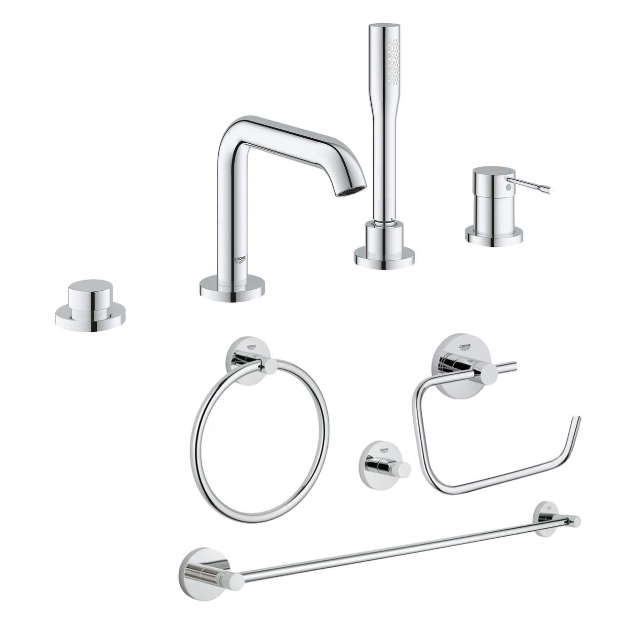 Комплект Grohe змішувач для ванни Essence 19578001 + набір аксесуарів Essentials 40823001