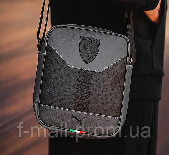 Чоловіча стильна сумка барсетка через плече еко-шкіра Puma Ferrari сірий з чорним.