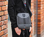 Чоловіча стильна сумка барсетка через плече еко-шкіра Puma Ferrari сірий з чорним., фото 3