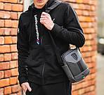 Чоловіча стильна сумка барсетка через плече еко-шкіра Puma Ferrari сірий з чорним., фото 2