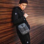 Чоловіча стильна сумка барсетка через плече еко-шкіра Puma Ferrari сірий з чорним., фото 4