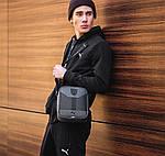 Чоловіча стильна сумка барсетка через плече еко-шкіра Puma Ferrari сірий з чорним., фото 5