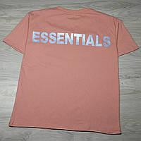Чоловіча футболка Fear Of God ESSENTIALS Pink рефлективна напис, фото 1