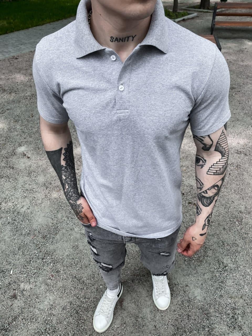 Мужская поло футболка (серая) классическая одежда на лето Sf187