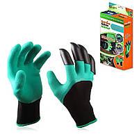 Резиновые перчатки с когтями для сада и огорода Garden Genie Gloves Перчатки-грабли садовые
