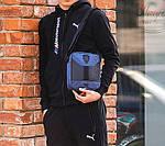 Мужская стильная сумка барсетка через плечо текстиль и эко-кожа Ferrari Puma синий с черным., фото 3