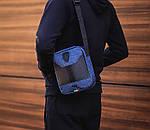 Мужская стильная сумка барсетка через плечо текстиль и эко-кожа Ferrari Puma синий с черным., фото 2