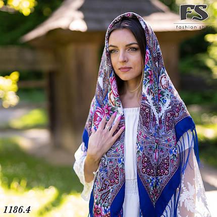Павлопосадский шерстяной платок цвета электрик Осеннее танго, фото 2