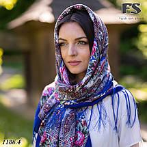 Павлопосадский шерстяной платок цвета электрик Осеннее танго, фото 3