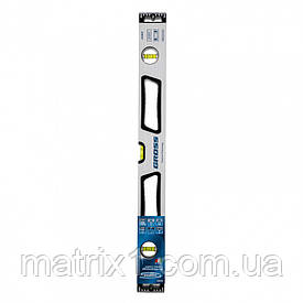 Уровень алюминиевый, 600 мм, усиленный, рукоятки, фрезерованный, 3 глазка, магнитный AZIMUT Gross (Италия)