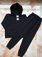 Женский спортивный костюм с худи оверсайз двунитка черный, одежда от производителя XS/S, M/L