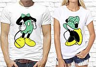 """Парные футболки для двоих с принтом """"Минни и Микки Маус"""" Push IT, Белый"""