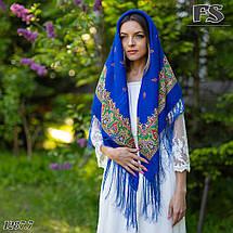Синя павлопосадська хустина Розкіш, фото 2