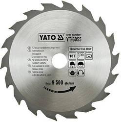 Диск пиляльний YATO по дереву 160х20х2.8х2.0 мм, 18 зубців (YT-6055)