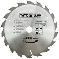 Диск пиляльний YATO по дереву 185х20х2.4х1.4 мм, 18 зубців (YT-6063)