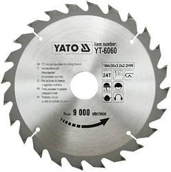 Диск пиляльний YATO по дереву 184х30х3.2х2.2 мм, 24 зубця (YT-6060)