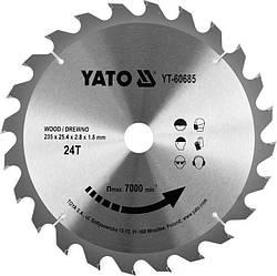 Диск пильний по дереву з побідитовими напайками Yato YT-60685 (235x25.4x2.8x1.8 мм), 24 зуба
