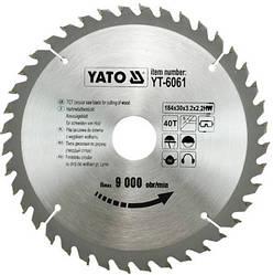 Диск пиляльний YATO по дереву 184х30х3.2х2.2 мм, 40 зубців (YT-6061)