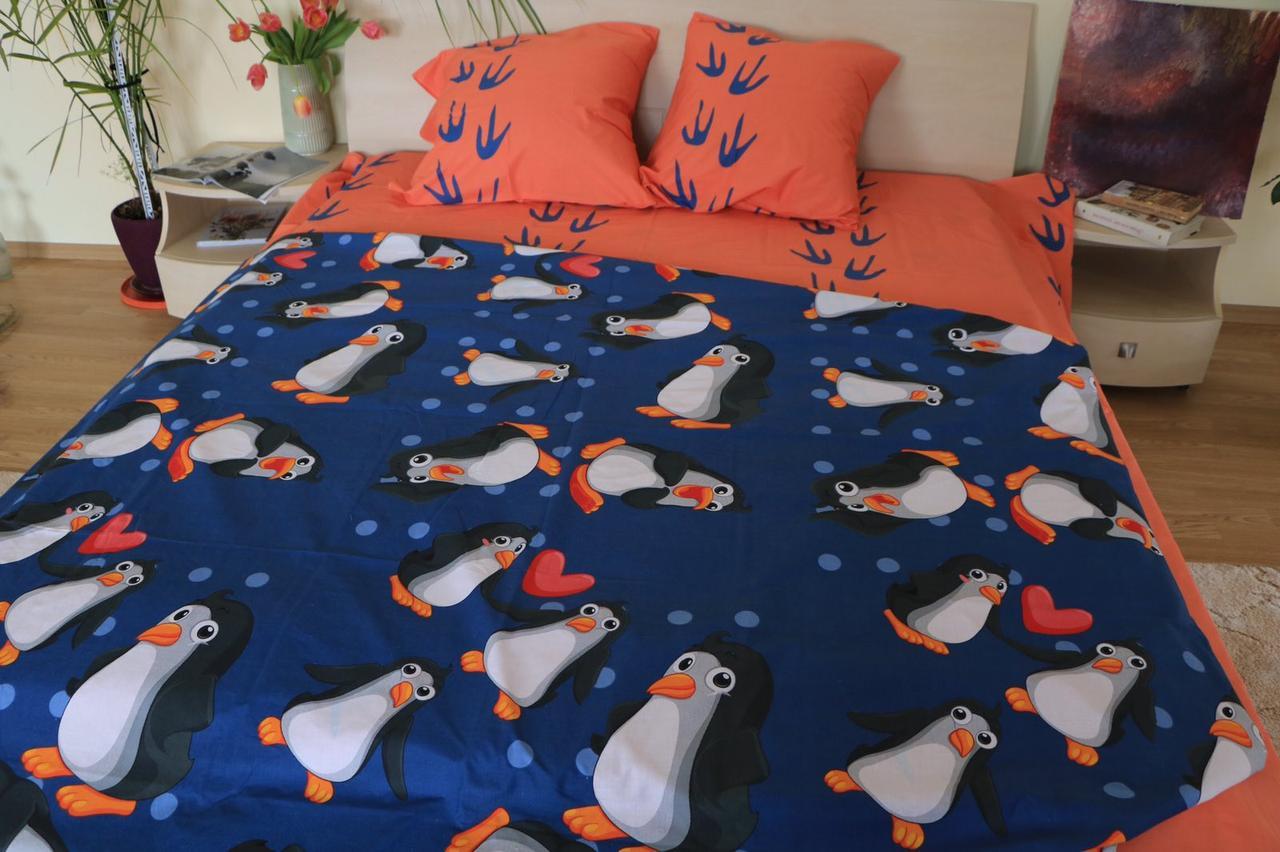 Комплект постельного белья подростковый полуторный ПингвиныТкань Бязь Голд 100% хлопок