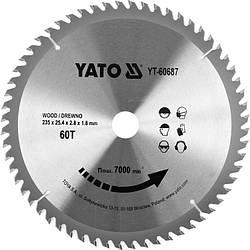Диск пильний по дереву з побідитовими напайками Yato YT-60687 (235x25.4x2.8x1.8 мм), 60 зубців