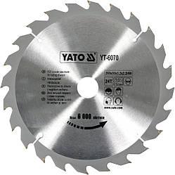 Диск пиляльний YATO по дереву 250х30х3.2х2.2 мм, 24 зубця (YT-6070)