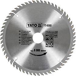 Диск пиляльний YATO по дереву 210х30х3.2x2.2 мм, 60 зубців (YT-6068)