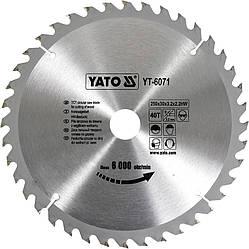Диск пиляльний YATO по дереву 250х30х3.2х2.2 мм, 40 зубців (YT-6071)