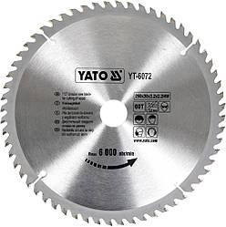 Диск пиляльний YATO по дереву 250х30х3.2х2.2 мм, 60 зубців (YT-6072)