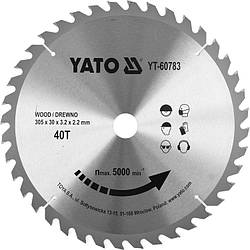 Диск пильний по дереву з побідитовими напайками Yato YT-60783 (305x30x3.2x2.2 мм), 40 зубців