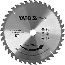 Диск пильний по дереву з побідитовими напайками Yato YT-60791 (315x30x3.2x2.2 мм), 40 зубців