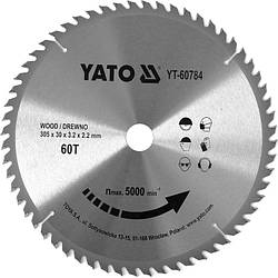 Диск пильний по дереву з побідитовими напайками Yato YT-60784 (305x30x3.2x2.2 мм), 60 зубців