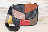 Женская черная сумка с цветными вставками натуральная кожа код 22-103, фото 2