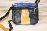 Женская черная сумка с цветными вставками натуральная кожа код 22-103, фото 3