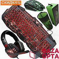 Клавиатура с подсветкой led игровая геймерская Razer для компютера пк клавіатура usb мышка hub коврик под мышь
