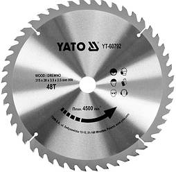 Диск пиляльний YATO по дереву 315х30х3.5х2.5 мм, 48 зубців (YT-60792)