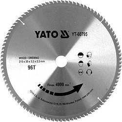 Диск пильний по дереву з побідитовими напайками Yato YT-60795 (315x30x3.2x2.2 мм), 96 зубців
