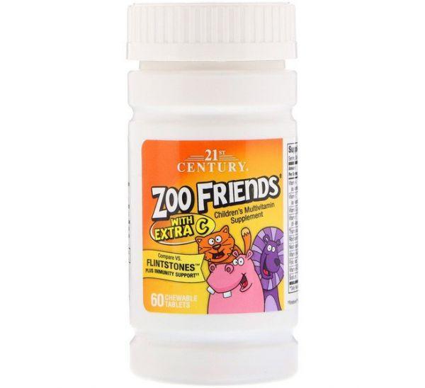 21st Century Zoo Friends with Vitamin C, Children's Multivitamin, Детские витамины (60 шт.)