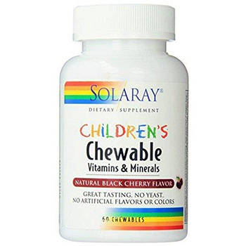 Solaray Children's Chewable Vitamins and Minerals, Natural Black Cherry – 60 Chewables