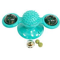 (GipS), Іграшка для котів кулька Rotate windmill cat toy, бірюзова іграшка для чищення зубів кішок