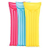 Intex Желтый надувной матрас для плавания, одноместный матрас Интекс 183х69см пляжный (надувний матрац)