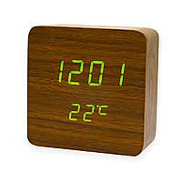 Часы настольные электронные VST-872 Коричневое дерево, светодиодные led часы с термометром на батарейках