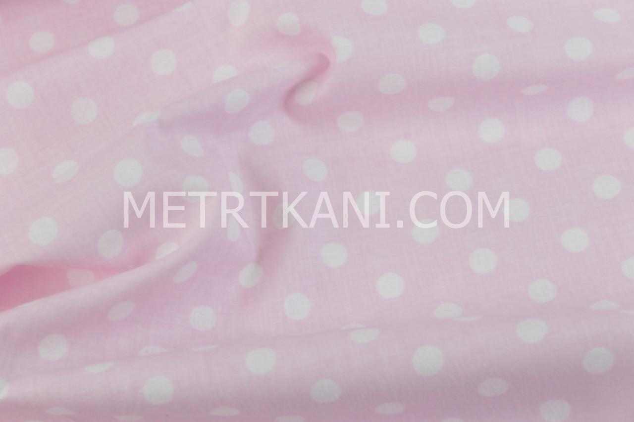 Лоскуток. Ткань бязь с белый горох 1см на розовом 21*160 см