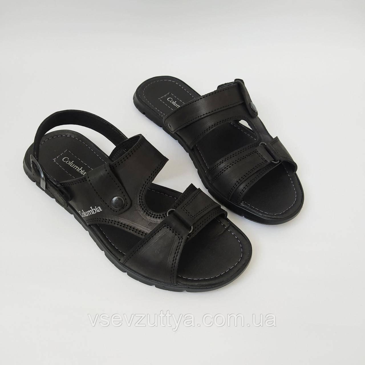 Босоніжки, сандалі, шльопанці  чоловічі шкіряні чорні