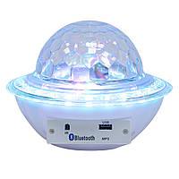 (GipS), Диско куля з блютузом Ufo crystal magic ball - біла, світлодіодний музичний діскошар, світломузика