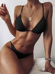 Жіночий чорний роздільний купальник. Розмір S. Жіночий купальник на зав'язках з високою посадкою