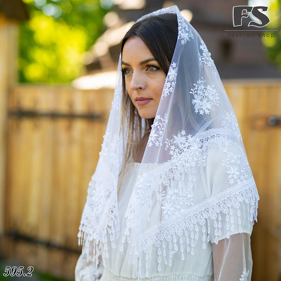 Свадебный белый с жемчугом платок Вивьен.1