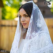 Свадебный белый с жемчугом платок Вивьен.1, фото 3