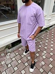 Спортивний костюм Чоловічий спортивний комплект / чоловічий комплект шорти+футболки ліловий