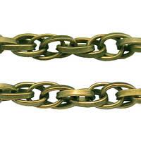 Цепь Плетение Веревка, Железная, Цвет: Бронза, Звено: 3.5х1мм, (УТ000006354)