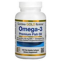 Омега-3, рыбий жир премиум-класса, Omega-3 Premium Fish Oil California Gold Nutrition, 100 капсул